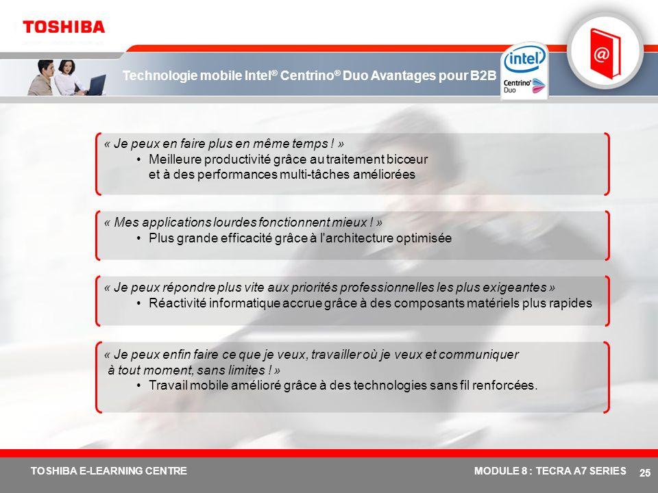 # 24 TOSHIBA E-LEARNING CENTREMODULE 8 : TECRA A7 SERIES Technologie mobile Intel ® Centrino ® Duo Avantages commerciaux Mémoire DDR-2 bicanal 667 MHz