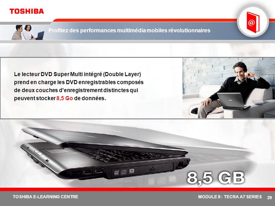 # 28 TOSHIBA E-LEARNING CENTREMODULE 8 : TECRA A7 SERIES Entrez dans le monde de la rapidité visuelle avec Mobility Radeon ® X1400/1600 Profitez des a