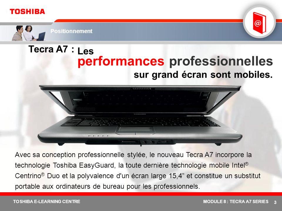 # 3 TOSHIBA E-LEARNING CENTREMODULE 8 : TECRA A7 SERIES Positionnement Tecra A7 : Les performances professionnelles sur grand écran sont mobiles.