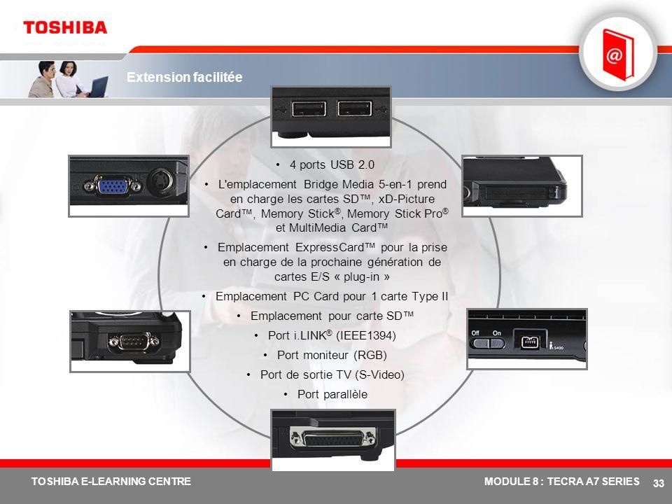 # 32 TOSHIBA E-LEARNING CENTREMODULE 8 : TECRA A7 SERIES Conforme aux directives européennes en matière d'équipements électroniques respectueux de l'e