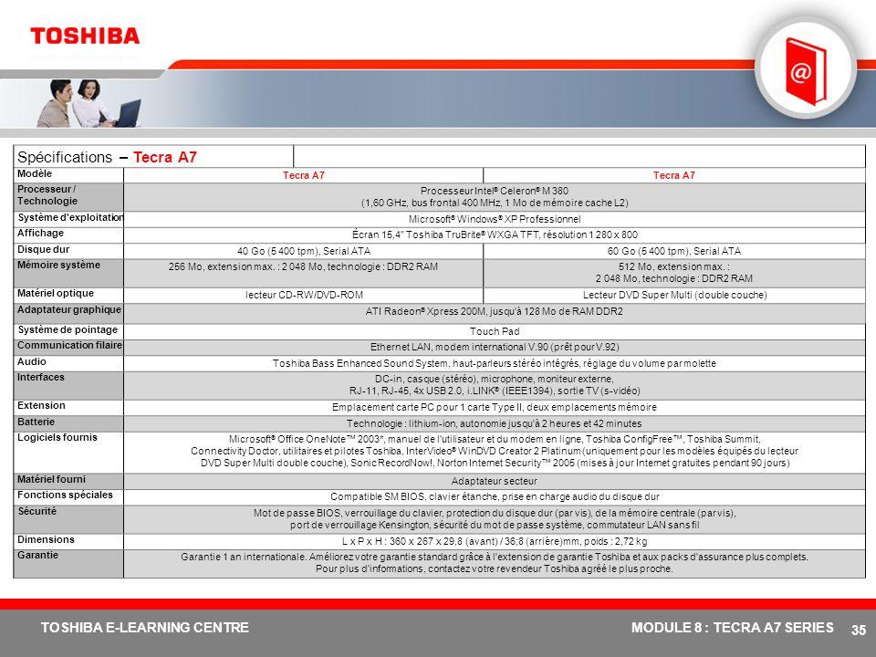 # 34 TOSHIBA E-LEARNING CENTREMODULE 8 : TECRA A7 SERIES Le choix entre 5 modes de connexion LAN sans fil bimode 802.11a/b/g intégré Port infrarouge (