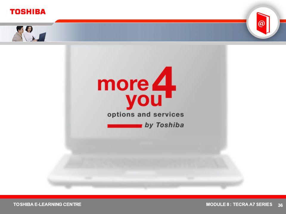 # 35 TOSHIBA E-LEARNING CENTREMODULE 8 : TECRA A7 SERIES Spécifications – Tecra A7 Modèle Tecra A7 Processeur / Technologie Processeur Intel ® Celeron