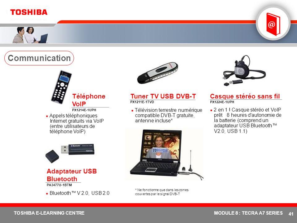 # 40 TOSHIBA E-LEARNING CENTREMODULE 8 : TECRA A7 SERIES Mémoire 256/512 Mo/1 Go PC2-4300 DDR2 (533 MHz) PA3389U-2M25 (256 Mo) PA3412U-2M51 (512 Mo) P