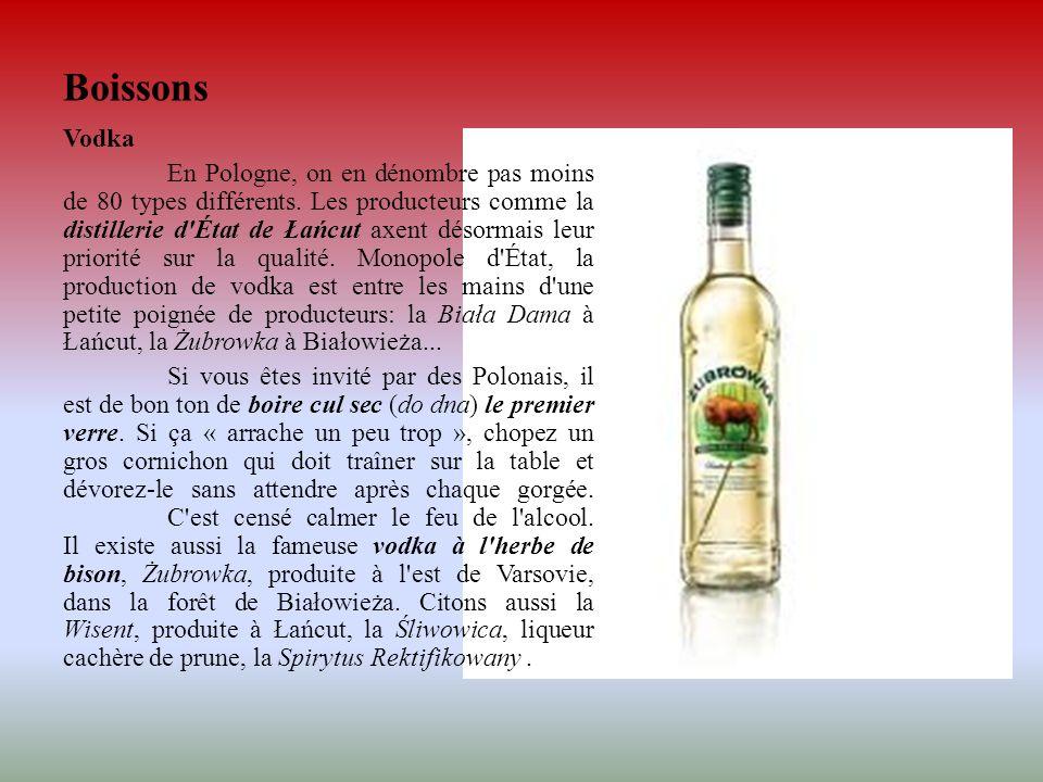 Boissons Vodka En Pologne, on en dénombre pas moins de 80 types différents. Les producteurs comme la distillerie d'État de Łańcut axent désormais leur