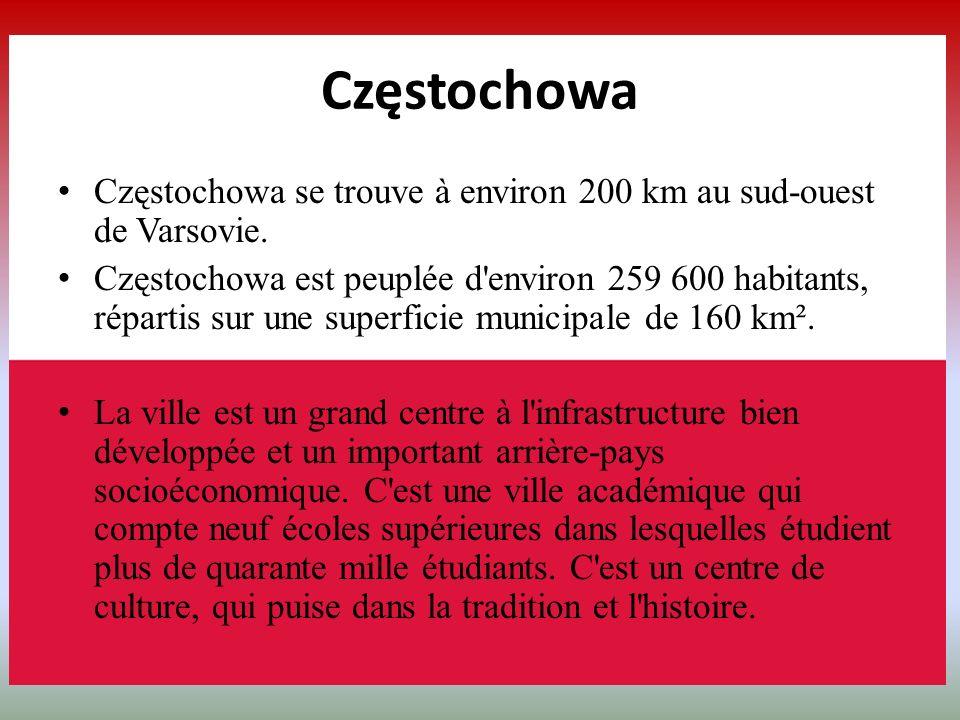 Częstochowa se trouve à environ 200 km au sud-ouest de Varsovie. Częstochowa est peuplée d'environ 259 600 habitants, répartis sur une superficie muni