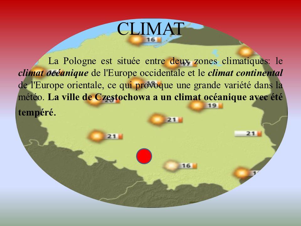 CLIMAT La Pologne est située entre deux zones climatiques: le climat océanique de l'Europe occidentale et le climat continental de l'Europe orientale,
