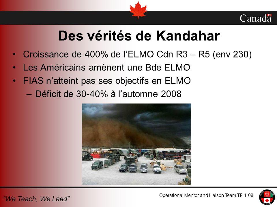 Canada Operational Mentor and Liaison Team TF 1-08 We Teach, We Lead Des vérités de Kandahar Croissance de 400% de lELMO Cdn R3 – R5 (env 230) Les Amé