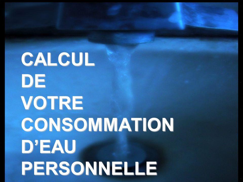 CALCUL DE VOTRE CONSOMMATION DEAU PERSONNELLE
