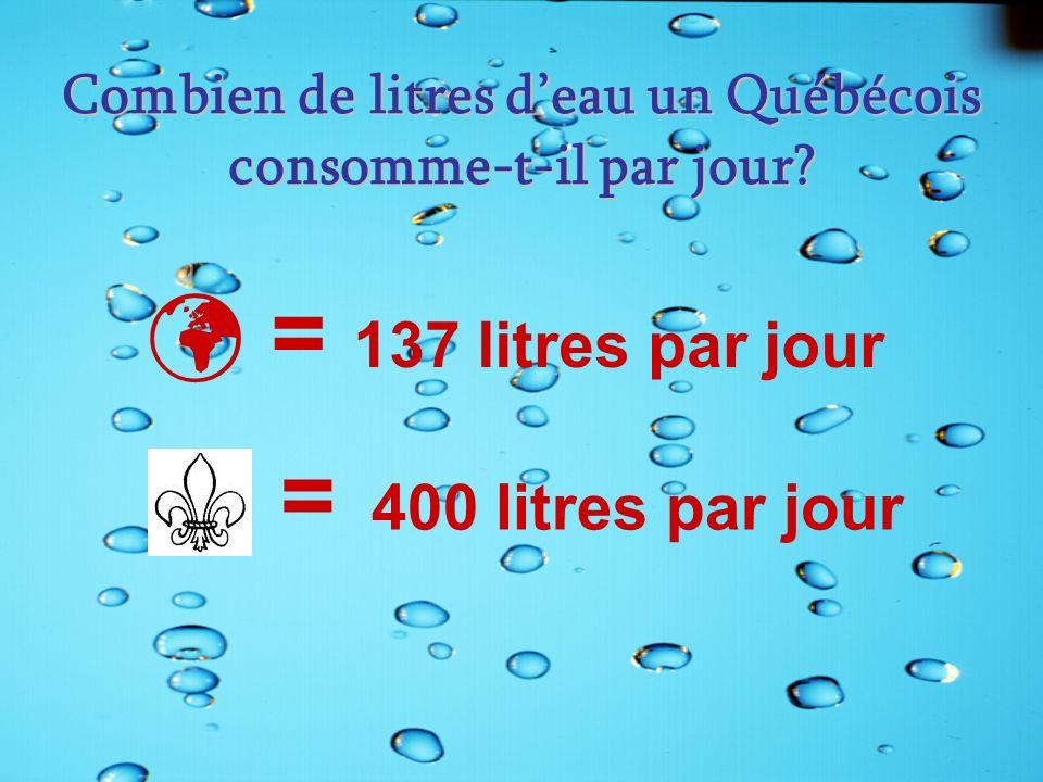 Combien de litres deau un Québécois consomme-t-il par jour? = 137 litres par jour = 400 litres par jour