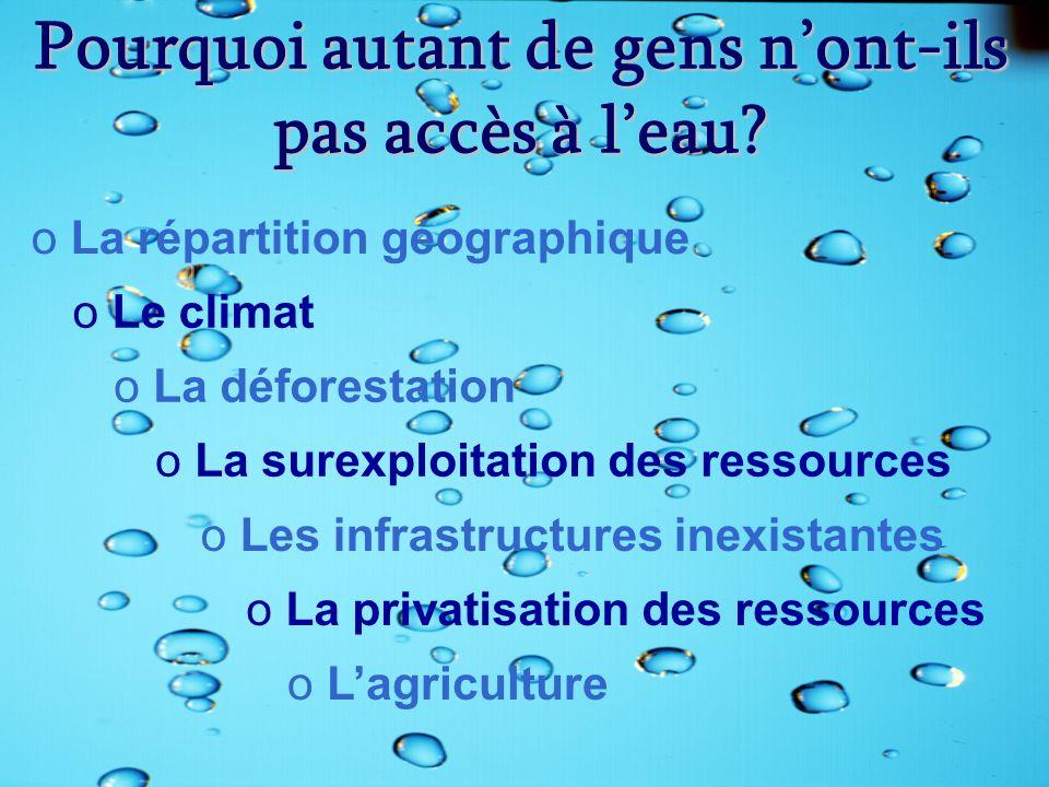 Pourquoi autant de gens nont-ils pas accès à leau? oLa répartition géographique o Le climat o La déforestation o La surexploitation des ressources o L