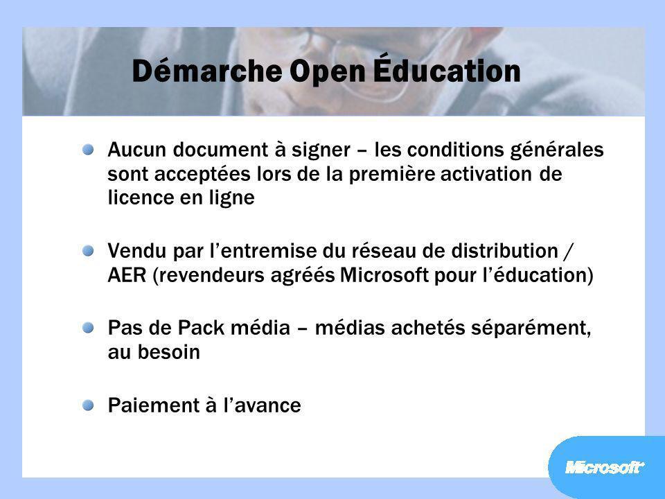 Démarche Open Éducation Aucun document à signer – les conditions générales sont acceptées lors de la première activation de licence en ligne Vendu par