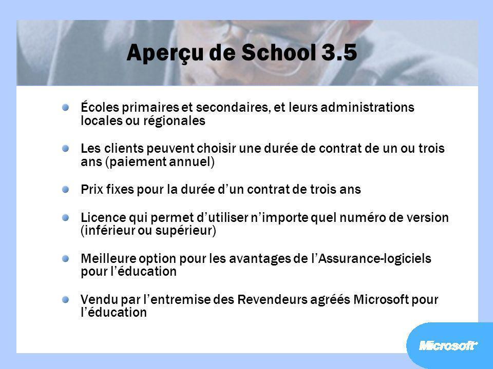 Aperçu de School 3.5 Écoles primaires et secondaires, et leurs administrations locales ou régionales Les clients peuvent choisir une durée de contrat