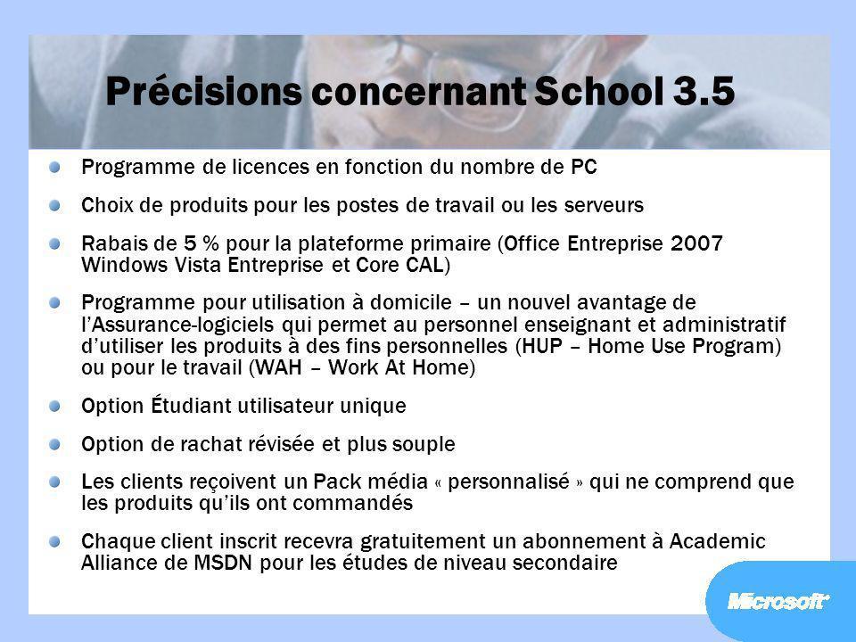 Précisions concernant School 3.5 Programme de licences en fonction du nombre de PC Choix de produits pour les postes de travail ou les serveurs Rabais