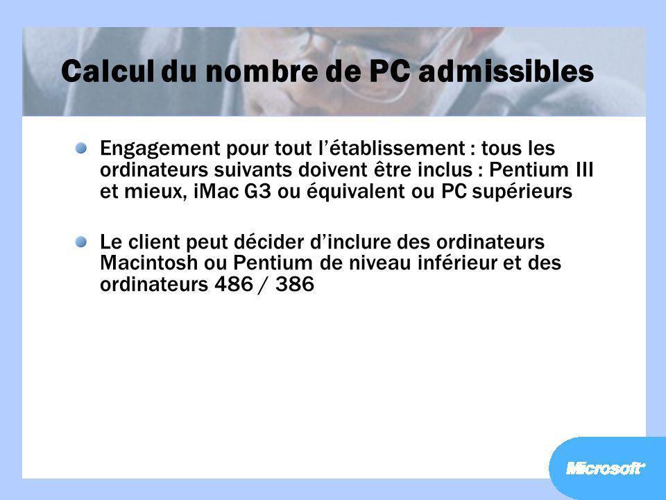 Calcul du nombre de PC admissibles Engagement pour tout létablissement : tous les ordinateurs suivants doivent être inclus : Pentium III et mieux, iMa
