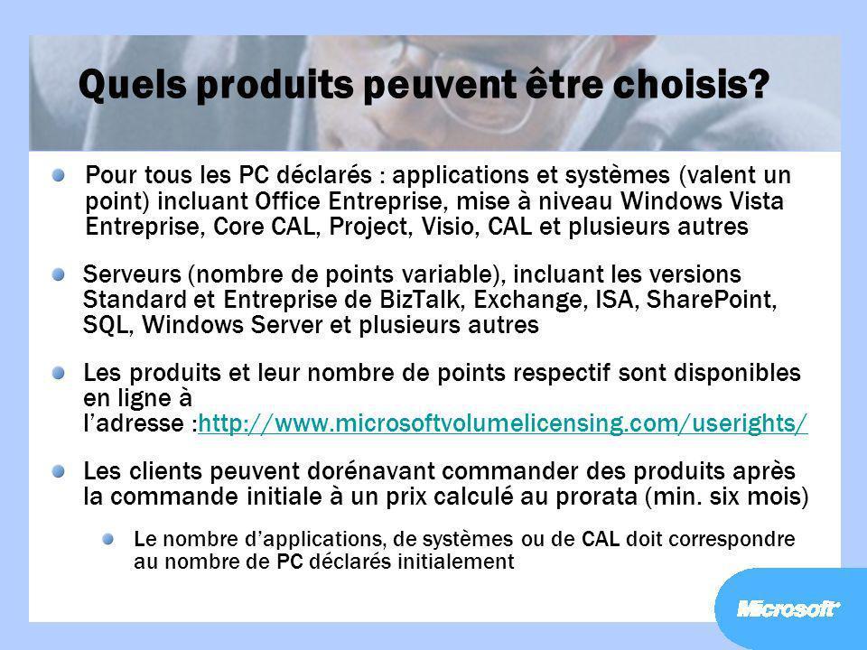 Quels produits peuvent être choisis? Pour tous les PC déclarés : applications et systèmes (valent un point) incluant Office Entreprise, mise à niveau