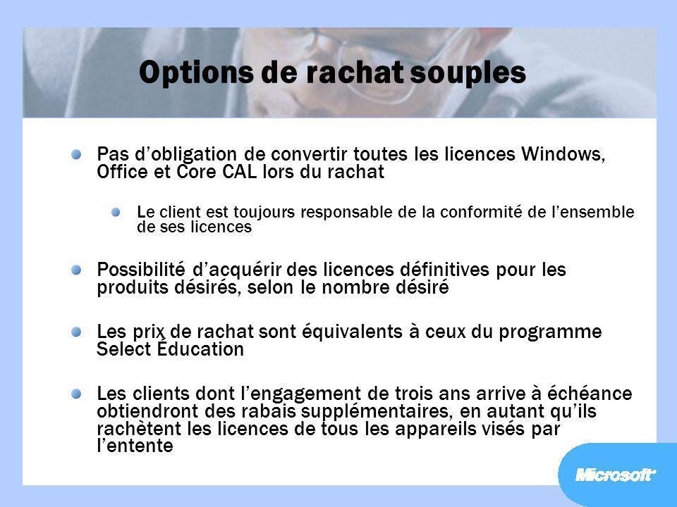 Options de rachat souples Pas dobligation de convertir toutes les licences Windows, Office et Core CAL lors du rachat Le client est toujours responsab