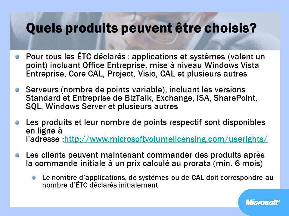 Quels produits peuvent être choisis? Pour tous les ÉTC déclarés : applications et systèmes (valent un point) incluant Office Entreprise, mise à niveau