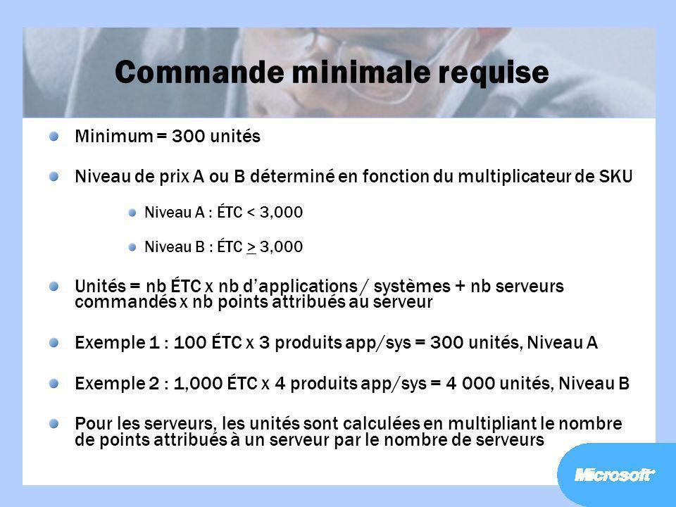 Commande minimale requise Minimum = 300 unités Niveau de prix A ou B déterminé en fonction du multiplicateur de SKU Niveau A : ÉTC < 3,000 Niveau B :