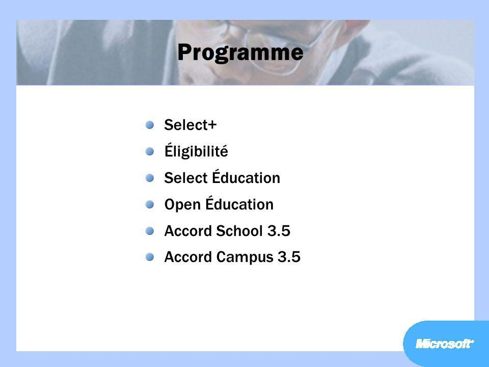 Programme Select+ Éligibilité Select Éducation Open Éducation Accord School 3.5 Accord Campus 3.5