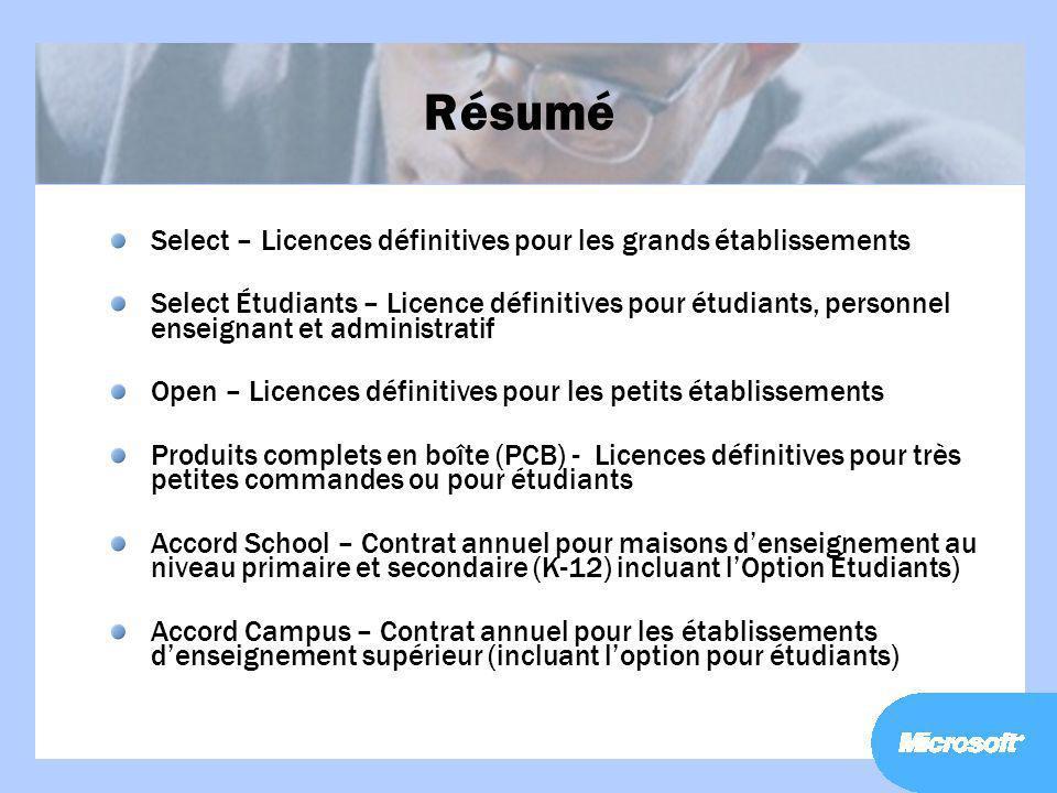 Résumé Select – Licences définitives pour les grands établissements Select Étudiants – Licence définitives pour étudiants, personnel enseignant et adm