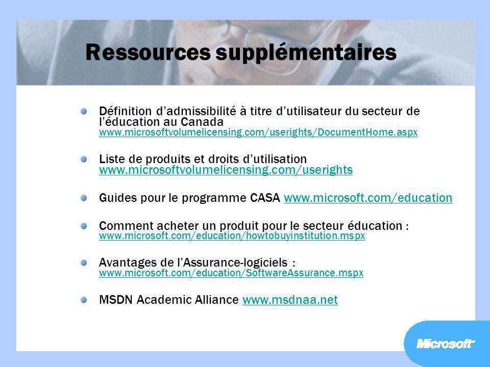 Ressources supplémentaires Définition dadmissibilité à titre dutilisateur du secteur de léducation au Canada www.microsoftvolumelicensing.com/useright