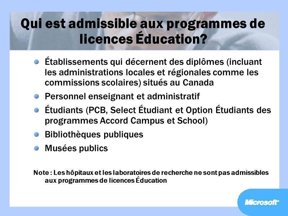 Qui est admissible aux programmes de licences Éducation? Établissements qui décernent des diplômes (incluant les administrations locales et régionales
