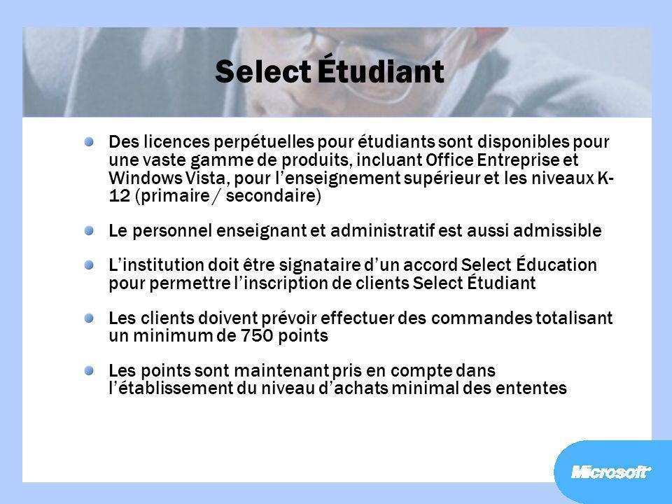 Select Étudiant Des licences perpétuelles pour étudiants sont disponibles pour une vaste gamme de produits, incluant Office Entreprise et Windows Vist