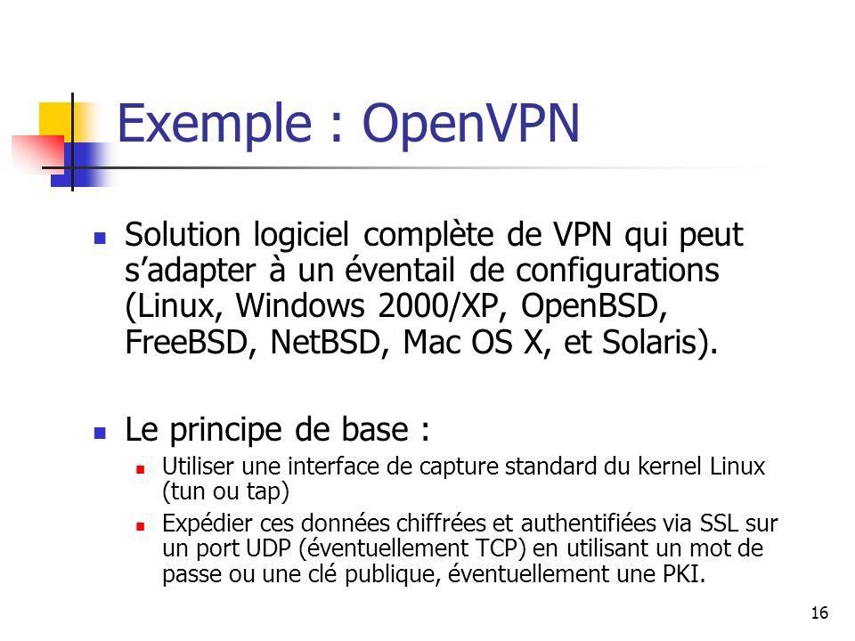 17 Avantages et inconvénients 1/2 PPTP : Avantage : Intégré dans les environnements Windows.