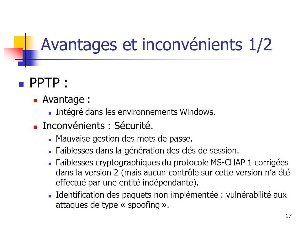 18 L2TP et IPSEC : Avantages : Mécanismes de sécurité robustes.