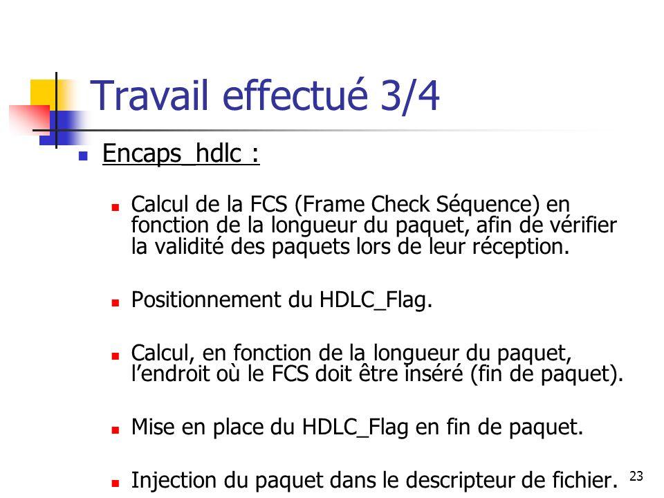 24 Travail effectué 4/4 Decaps_hdlc : Vérification de la validité du paquet en fonction de la longueur de celui-ci.