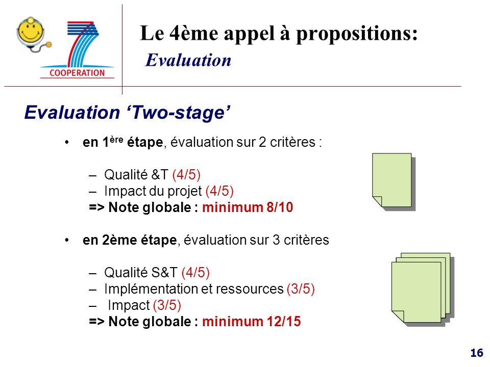 16 Le 4ème appel à propositions: Evaluation Evaluation Two-stage en 1 ère étape, évaluation sur 2 critères : –Qualité &T (4/5) –Impact du projet (4/5)