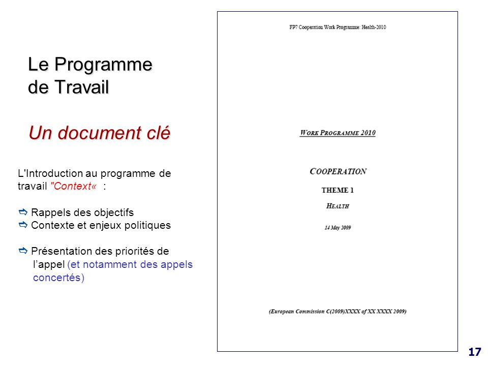 17 Le Programme de Travail Un document clé L'Introduction au programme de travail