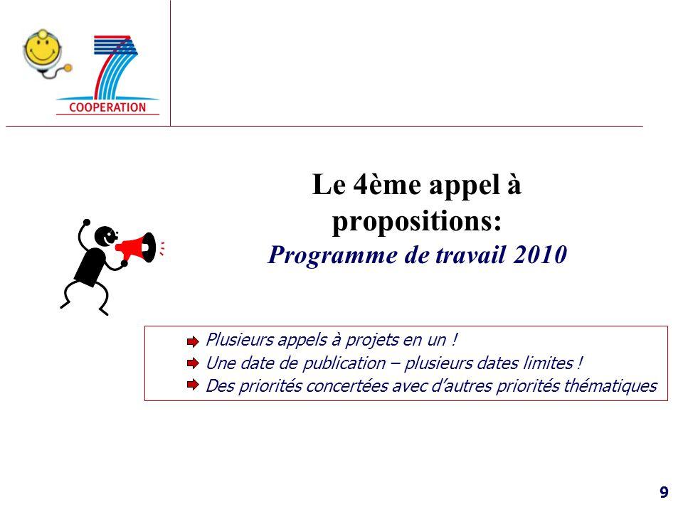 9 Le 4ème appel à propositions: Programme de travail 2010 Plusieurs appels à projets en un ! Une date de publication – plusieurs dates limites ! Des p