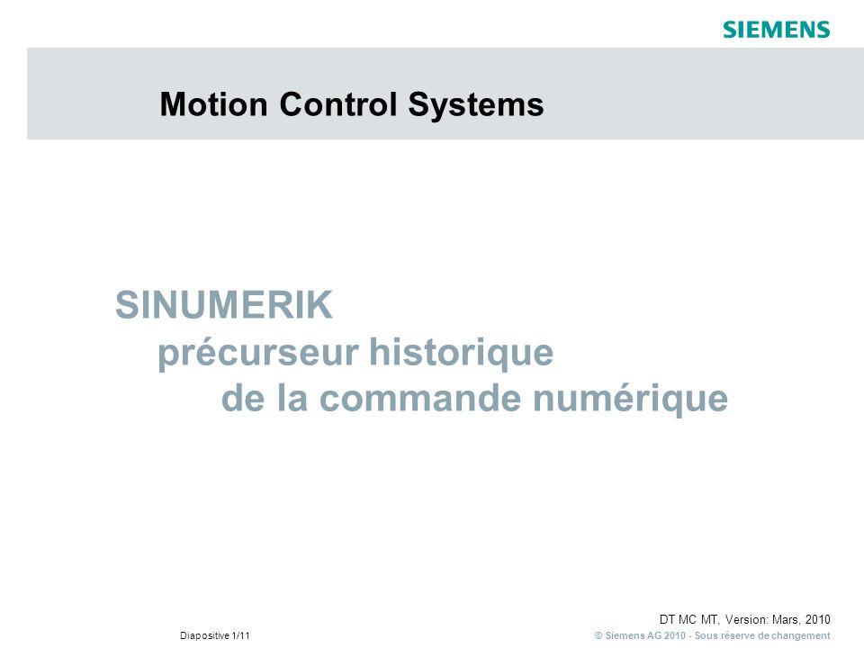 © Siemens AG 2010 - Sous réserve de changement DT MC MT, Version: Mars, 2010 Diapositive 1/11 Motion Control Systems SINUMERIK précurseur historique d