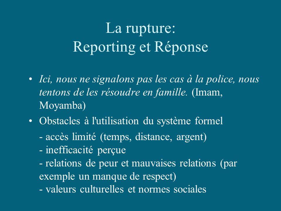 La rupture: Reporting et Réponse Ici, nous ne signalons pas les cas à la police, nous tentons de les résoudre en famille. (Imam, Moyamba) Obstacles à