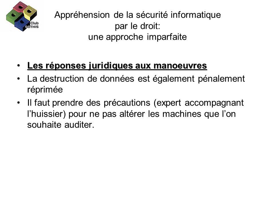 Appréhension de la sécurité informatique par le droit: une approche imparfaite Les réponses juridiques aux manoeuvresLes réponses juridiques aux manoe