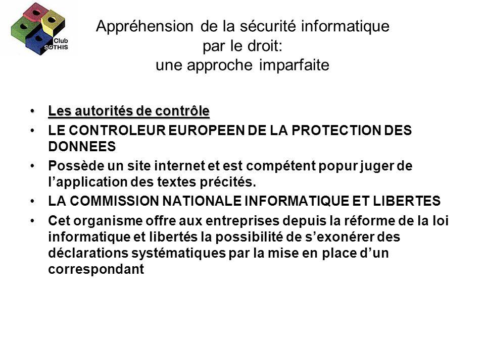 Appréhension de la sécurité informatique par le droit: une approche imparfaite Les autorités de contrôleLes autorités de contrôle LE CONTROLEUR EUROPE