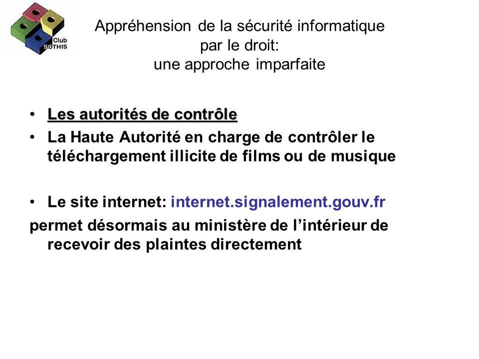 Appréhension de la sécurité informatique par le droit: une approche imparfaite Les autorités de contrôleLes autorités de contrôle La Haute Autorité en