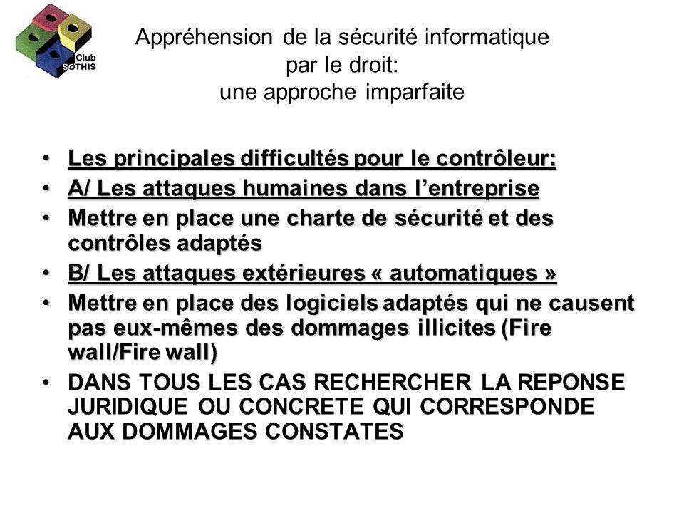 Appréhension de la sécurité informatique par le droit: une approche imparfaite Les principales difficultés pour le contrôleur:Les principales difficul