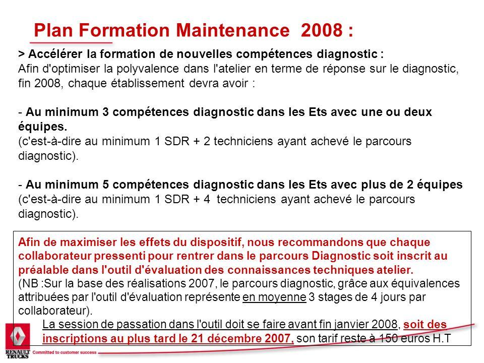 Plan Formation Maintenance 2008 : > Accélérer la formation de nouvelles compétences diagnostic : Afin d'optimiser la polyvalence dans l'atelier en ter