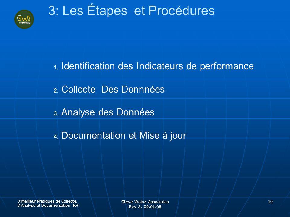 Steve Woloz Associates Rev 2: 09.01.08 10 3: Les Étapes et Procédures 1. 1. Identification des Indicateurs de performance 2. 2. Collecte Des Donnnées