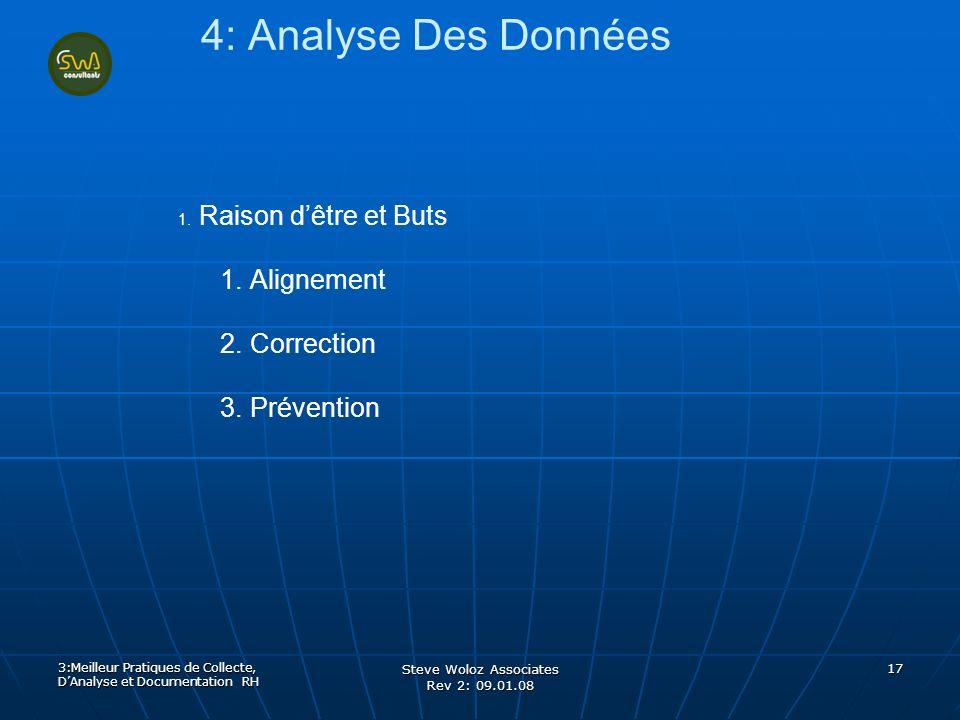 Steve Woloz Associates Rev 2: 09.01.08 17 4: Analyse Des Données 1. 1. Raison dêtre et Buts 1. 1. Alignement 2. 2. Correction 3. 3. Prévention 3:Meill