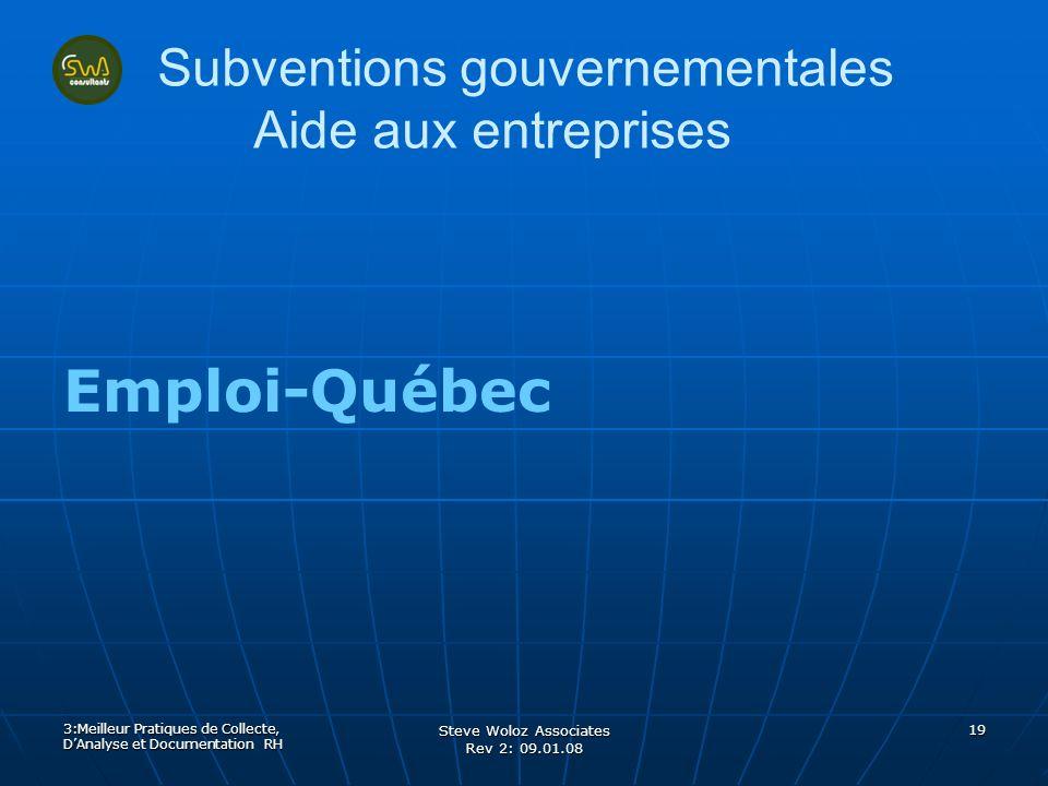 Steve Woloz Associates Rev 2: 09.01.08 19 Subventions gouvernementales Aide aux entreprises Emploi-Québec 3:Meilleur Pratiques de Collecte, DAnalyse e