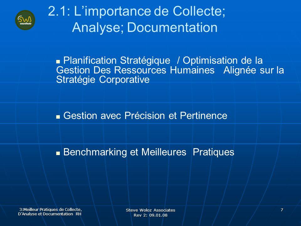 Steve Woloz Associates Rev 2: 09.01.08 7 2.1: Limportance de Collecte; Analyse; Documentation Planification Stratégique / Optimisation de la Gestion D