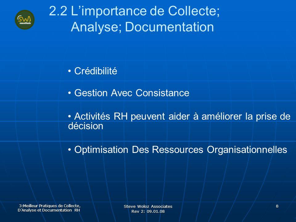 Steve Woloz Associates Rev 2: 09.01.08 8 2.2 Limportance de Collecte; Analyse; Documentation Crédibilité Gestion Avec Consistance Activités RH peuvent