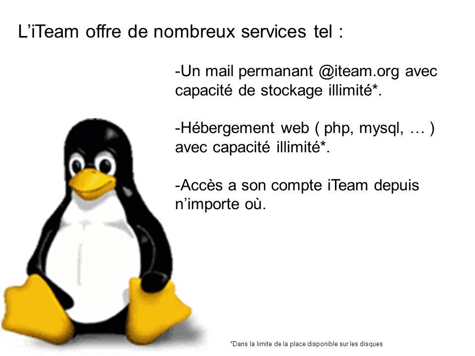 LiTeam offre de nombreux services tel : -Un mail permanant @iteam.org avec capacité de stockage illimité*.