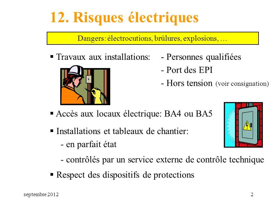 septembre 20122 12. Risques électriques Travaux aux installations: Dangers: électrocutions, brûlures, explosions, … - Personnes qualifiées - Port des