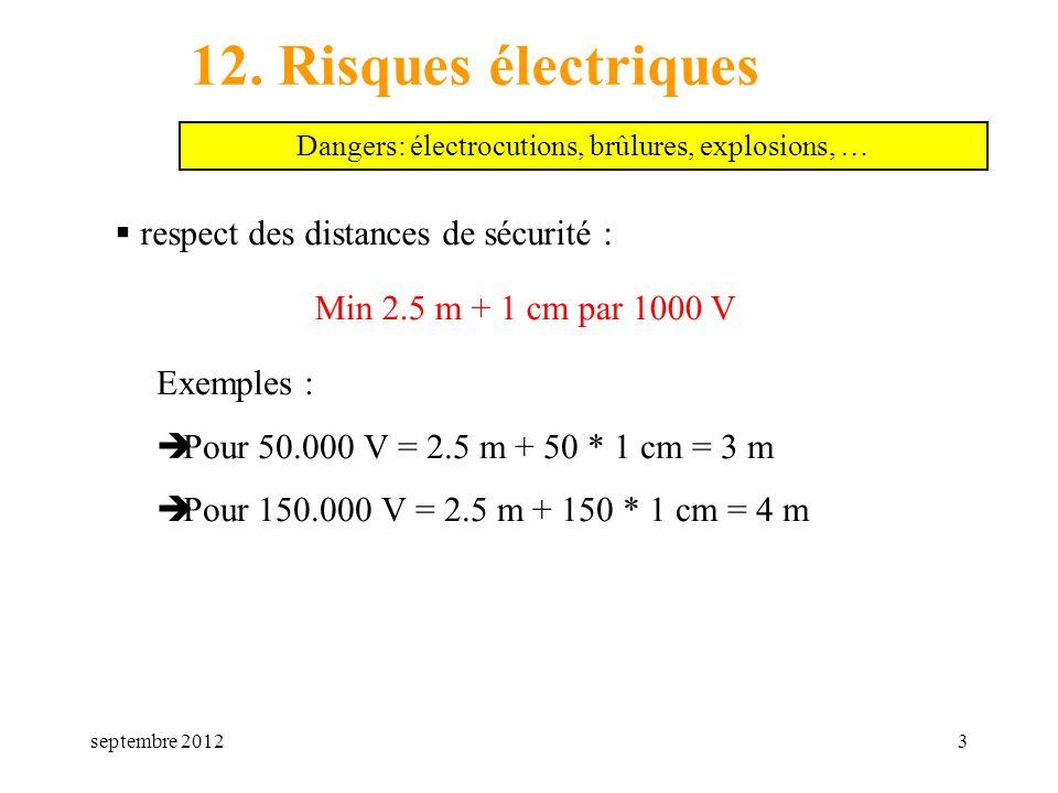 septembre 20123 12. Risques électriques respect des distances de sécurité : Dangers: électrocutions, brûlures, explosions, … Min 2.5 m + 1 cm par 1000