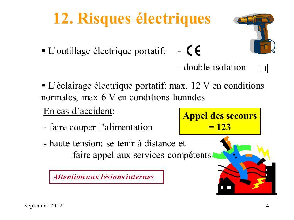 septembre 20124 12. Risques électriques Loutillage électrique portatif: Léclairage électrique portatif: max. 12 V en conditions normales, max 6 V en c
