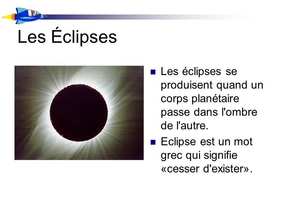 Les éclipses se produisent quand un corps planétaire passe dans l'ombre de l'autre. Eclipse est un mot grec qui signifie «cesser d'exister».